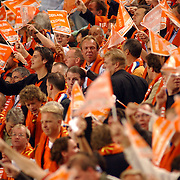NLD/Amsterdam/20051012 - WK kwalificatiewedstrijd Nederland - Macedonie, publiek, oranje, toeschouwers, feest, blijdschap