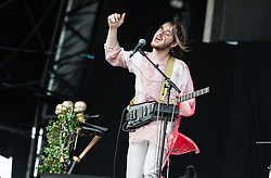© Licensed to London News Pictures. 06/06/2015. London, UK.   Clarence Clarity performing live at Field Day Festival Saturday Day 1.   Clarence Clarity is a British singer-songwriter and electronic pop music artist..  Photo credit : Richard Isaac/LNP