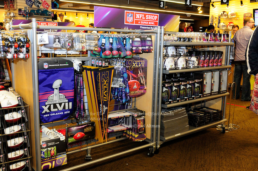 1/29/13 New Orleans LA.-NFL shop at Super Bowl XLV11 gets ready for the big Game. Media Day at the the Mercedes Benz Super Dome for the NFC champion San Francisco 49ers's and the AFC Champions  Baltimore Ravens  prior to Super Bowl XLV11 in New Orleans. Photo©Suzi Altman