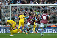 Fabian Delph, the Aston Villa captain © celebrates after scoring his sides second goal of the game to make it 2-1. The FA Cup, semi final match, Aston Villa v Liverpool at Wembley Stadium in London on Sunday 19th April 2015.<br /> pic by John Patrick Fletcher, Andrew Orchard sports photography.