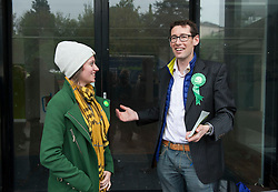 © Licensed to London News Pictures.  06/05/2015. Bristol, UK.  Picture of Jack Monroe (left) and Darren Hall, Green PPC for Bristol West, campaigning in the Bristol West seat.  Author and Food Poverty Campaigner, Jack Monroe, came to Bristol West to support Green Party PPC Darren Hall in one of the Green Party's key target constituencies. Monroe met Hall alongside Green Party Leader, Natalie Bennett.  Photo credit : Simon Chapman/LNP