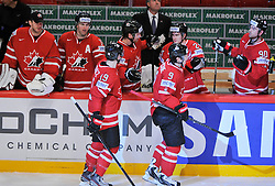 13.05.2013, Globe Arena, Stockholm, SWE, IIHF, Eishockey WM, Kanada vs Slowenien, im Bild Canada Kanada 9 Matt Duchen gör mål goal 1-2 jubel glädje lycka glad happy // during the IIHF Icehockey World Championship Game between Canada and Slovenia at the Ericsson Globe, Stockholm, Sweden on 2013/05/13. EXPA Pictures © 2013, PhotoCredit: EXPA/ PicAgency Skycam/ Simone Syversson..***** ATTENTION - OUT OF SWE *****