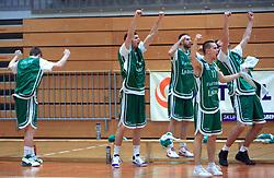 Players of Zlatorog celebrate at 12th Round of UPC League basketball match between KK Luka Koper and KK Zlatorog Lasko, on May 2, 2009, in Arena Bonifika, Koper, Slovenia. Zlatorog won the match 72:71. (Photo by Vid Ponikvar / Sportida)