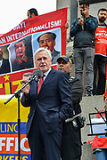 Shadow Chancellor John McDonnell speaks to Union members in Trafalgar Square as they take part in the Labour Day March on 1st May, 2019 in London,England, United Kingdom.The march coincides with International Workers Day and campaigns for trade union rights,  workers<br /> protection and for 1st May to be a public holiday.