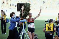 Friidrett<br /> Foto: imago/Digitalsport<br /> NORWAY ONLY<br /> <br /> VM 1983 Helsinki / Helsingfors<br /> Maraton kvinner<br /> 07.08.1983<br /> <br /> Grete Waitz (Norwegen) - Weltmeisterin im Marathon bei der WM 1983 in Helsinki