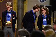 Officiele Huldiging van de Olympische medaillewinnaars Sochi 2014 / Official Ceremony of the Sochi 2014 Olympic medalists.<br /> <br /> Op de foto:  Ireen Wust  en Sven Kramer , links Jorrit Bergsma