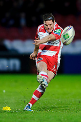 Gloucester Fly-Half (#10) Freddie Burns kicks a Penalty during the second half of the match - Photo mandatory by-line: Rogan Thomson/JMP - Tel: 07966 386802 - 15/12/2013 - SPORT - RUGBY UNION - Kingsholm Stadium, Gloucester - Gloucester Rugby v Edinburgh Rugby - Heineken Cup Round 4.