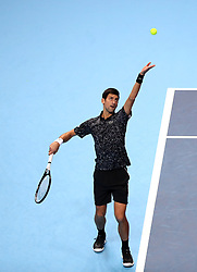 Serbia's Novak Djokovic in action during his singles match on day six of the Nitto ATP Finals at The O2 Arena, London.