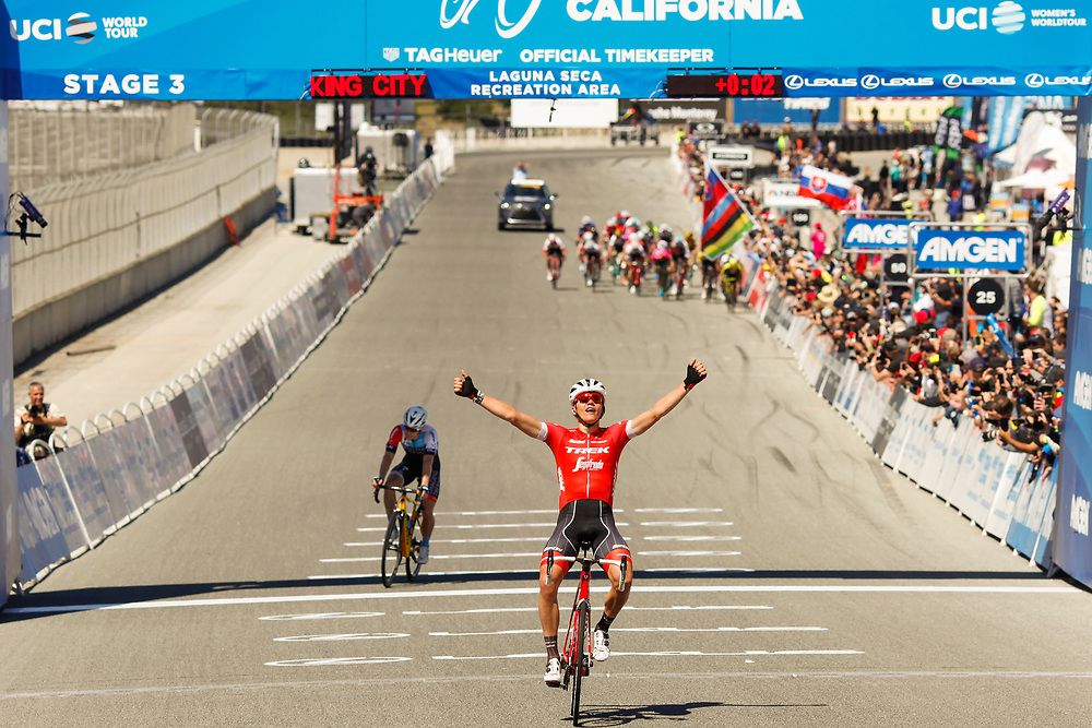 Toms Skujins of Latvia celebrates as he wins stage 3 of the 2018 Amgen Tour of California at Laguna Seca Raceway in Monterey, Calif.