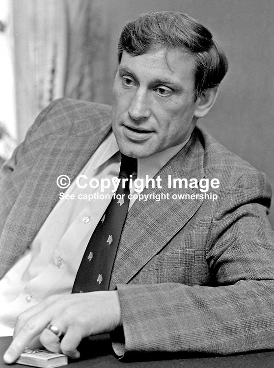 Willy John McBride, rugby international, Ireland, British Lions, Ballyclare, Co Antrim, N Ireland, 197501150030b<br /> <br /> Copyright Image from Victor Patterson, Belfast, UK<br /> <br /> t: +44 28 9066 1296 (from Rep of Ireland 048 9066 1296)<br /> m: +44 7802 353836<br /> e: victorpattersonbelfast@gmail.com<br /> <br /> www.images4media.com<br /> <br /> Please see my full Terms and Conditions of Use at https://www.images4media.com/p/terms-conditions - it is IMPORTANT that you familiarise yourself with them.<br /> <br /> Images used online incur an additional cost. This cost should be agreed in writing in advance. Online images must be visibly watermarked i.e. © Victor Patterson or that of the named photographer within the body of the image. The original metadata must not be deleted from images used online.<br /> <br /> This image is only available for the use of the download recipient i.e. television station, newspaper, magazine, book publisher, etc, and must not be passed on to a third party. It is also downloaded on condition that each and every usage is notified within 7 days to victorpattersonbelfast@gmail.com.
