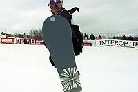 Snowboard, NM snøbrett halfpipe Geilo mars 2000.  Christel Thoresen.