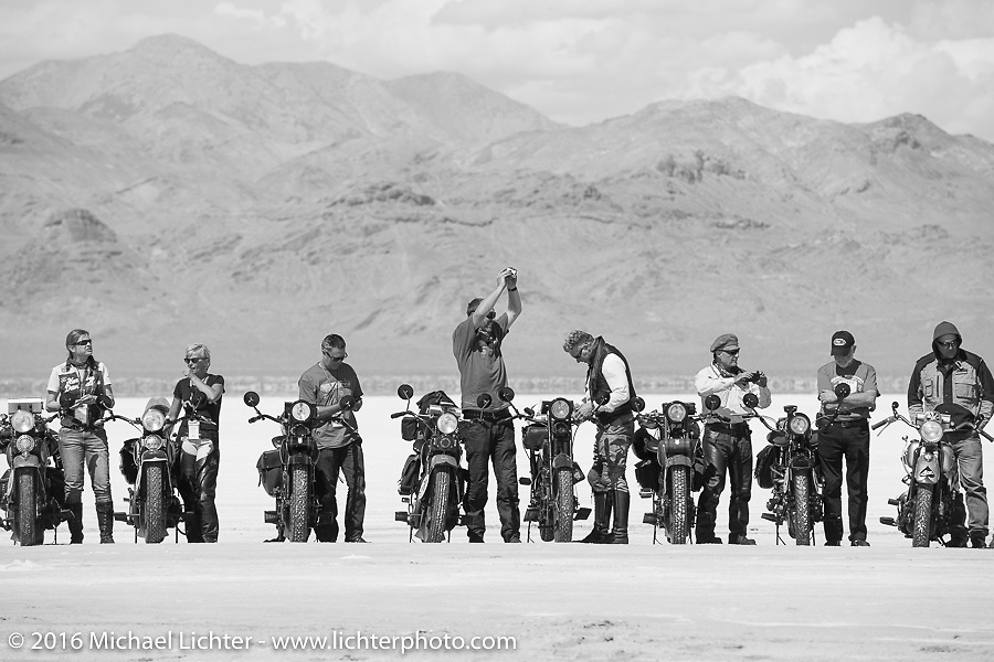 Getting ready for the Panorama portrait on the Bonneville Salt Flats during stage 12 (299 m) of the Motorcycle Cannonball Cross-Country Endurance Run, which on this day ran from Springville, UT to Elko, NV, USA. Wednesday, September 17, 2014.  Photography ©2014 Michael Lichter.
