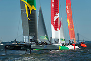 SailGP Team China leads from the first mark in race three. Race Day 1 Event 3 Season 1 SailGP event in New York City, New York, United States. 21 June 2019. Photo: Chris Cameron for SailGP. Handout image supplied by SailGP