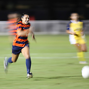 Cal State Fullerton forward Ivy Diego (6) dribbles upfield at the Big West Semi-final at Long Beach State on November 3, 2016.