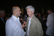 Mark Quinn and Richard Buckley, Established and Sons UK Launch during Design Week. The Bus Depot, Hertford Road. Hoxton. 22 September 2005.  ONE TIME USE ONLY - DO NOT ARCHIVE © Copyright Photograph by Dafydd Jones 66 Stockwell Park Rd. London SW9 0DA Tel 020 7733 0108 www.dafjones.com