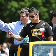 CANASTOTA, NY - JUNE 14: Boxer Sergio Martinez waves to fans during the parade at the International Boxing Hall of Fame induction Weekend of Champions events on June 14, 2015 in Canastota, New York. (Photo by Alex Menendez/Getty Images) *** Local Caption *** Sergio Martinez