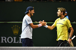 March 10, 2019 - Indian Wells, USA - Lucas Pouille (Fra) and Stan Wawrinka playing doubles (Credit Image: © Panoramic via ZUMA Press)