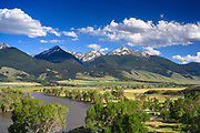 Yellowstone River in the Paradise Valley, Montana.