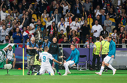 Karim Benzema of Real Madrid celebrates after he scored first goal for Real during the UEFA Champions League final football match between Liverpool and Real Madrid at the Olympic Stadium in Kiev, Ukraine on May 26, 2018.Photo by Sandi Fiser / Sportida