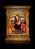 Gothic altarpiece of Madonna and Child with St Peter and Paul by Vicenzo Frediani, circa 1490, tempera and gold leaf on wood.  National Museum of Catalan Art, Barcelona, Spain, inv no: MNAC  64978. Against a black background. .<br /> <br /> If you prefer you can also buy from our ALAMY PHOTO LIBRARY  Collection visit : https://www.alamy.com/portfolio/paul-williams-funkystock/romanesque-art-antiquities.html<br /> Type -     MNAC     - into the LOWER SEARCH WITHIN GALLERY box. Refine search by adding background colour, place, subject etc<br /> <br /> Visit our ROMANESQUE SCULPTURE PHOTO COLLECTION for more   photos  to download or buy as prints https://funkystock.photoshelter.com/gallery/Romanesque-Statue-Sculptures-Pictures-Images/G0000ezFHYeF_xRI/C0000YpKXiAHnG2k .<br /> <br /> If you prefer you can also buy from our ALAMY PHOTO LIBRARY  Collection visit : https://www.alamy.com/portfolio/paul-williams-funkystock/gothic-art-antiquities.html  Type -     MANAC    - into the LOWER SEARCH WITHIN GALLERY box. Refine search by adding background colour, place, museum etc<br /> <br /> Visit our MEDIEVAL GOTHIC ART PHOTO COLLECTIONS for more   photos  to download or buy as prints https://funkystock.photoshelter.com/gallery-collection/Medieval-Gothic-Art-Antiquities-Historic-Sites-Pictures-Images-of/C0000gZ8POl_DCqE