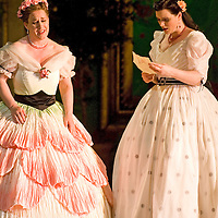 Picture shows :  Kate Valentine (reading) as Karolina and Jane Irwin (pink dress) as Ane?ka...Picture  ©  Drew Farrell Tel : 07721 ?735041.THE TWO WIDOWS by  Smetana.A SCOTTISH OPERA AND EDINBURGH INTERNATIONAL FESTIVAL CO-PRODUCTION.Premiering at the Edinburgh International Festival, this brand new production stars Scottish soprano Kate Valentine and internationally renowned mezzo Jane Irwin..The directorial partnership between Tobias Hoheisel and Imogen Kogge transforms this delicate comedy into something that digs deeper without losing its inherent charm. Francesco Corti conducts this, his first production as Music Director of Scottish Opera...Kate Valentine as Karolina Záleská.Jane Irwin as Ane?ka Miletinská?Nicholas Folwell as Mumlal?David Pomeroy as Ladislav Podhajsky?Ben Johnson as Toník, a peasant?Rebecca Ryan as Lidka, a maid.?Conductor..Francesco Corti.Directors ..         Tobias Hoheisel & Imogen Kogge.Designer..         Tobias Hoheisel.Lighting..         Peter Mumford.Choreographer  .Kally Lloyd-Jones.Dramaturg..Micaela von Marcard..Performances :.Edinburgh Festival Theatre?9 ? 11 ? 12  August?Theatre Royal, Glasgow?10 ?  14 ? 17 ? October?Note to Editors:  This image is free to be used editorially in the promotion of Scottish Opera and The Edinburgh International Festival. Without prejudice ALL other licences without prior consent will be deemed a breach of copyright under the 1988. Copyright Design and Patents Act  and will be subject to payment or legal action, where appropriate..Further further information please contact Kerryn Hurley Scottish Opera Press Manager t:   0141 242 0511. Or contact The Edinburgh International Festival Press Office  +44 (0)131 473 2020.