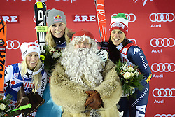 12.12.2015, Olympia course, Are, SWE, FIS Weltcup Ski Alpin, Are, Damen, Riesenslalom, Podium, im Bild Eva-Maria Brem (AUT), Lindsey Vonn (USA), Federica Brignone (ITA) mit Santa Claus // Eva-Maria Brem of Austria, Lindsey Vonn of the USA, Federica Brignone of Italy with Santa Claus during winnerpresentation of ladies giant Slalom of Are FIS Ski Alpine World Cup at the Olympia course in Are, Sweden on 2015/12/12. EXPA Pictures © 2015, PhotoCredit: EXPA/ Nisse Schmidt<br /> <br /> *****ATTENTION - OUT of SWE*****