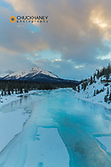 Winter along the North Saskatchewan River in Banff National Park, Alberta, Canada