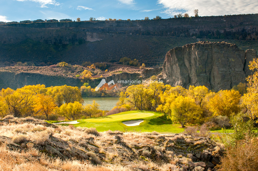 Autumn landscape along the Snake River canyon and Blue Lakes Country Club course in Twin Falls, Idaho.