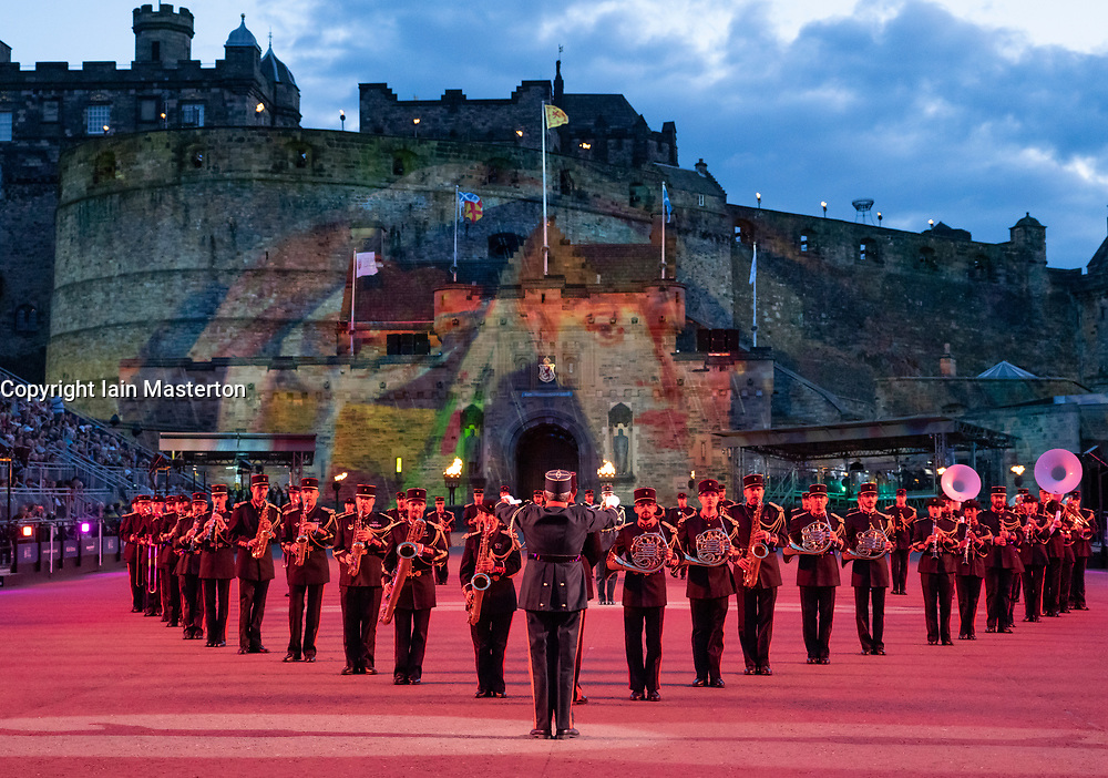 Edinburgh, Scotland, UK. 5 August, 2019.  The Royal Edinburgh Military Tattoo forms part of the Edinburgh International festival. Pictured; Music de Artillerie band from France