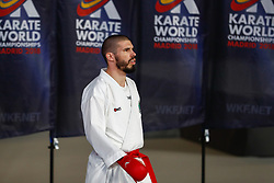 November 10, 2018 - Madrid, Madrid, Spain - Reis Filipe (POR) figth for third place of male Kumite 84+ Kg during the Finals of Karate World Championship celebrates in Wizink Center, Madrid, Spain, on November 10th, 2018. (Credit Image: © AFP7 via ZUMA Wire)