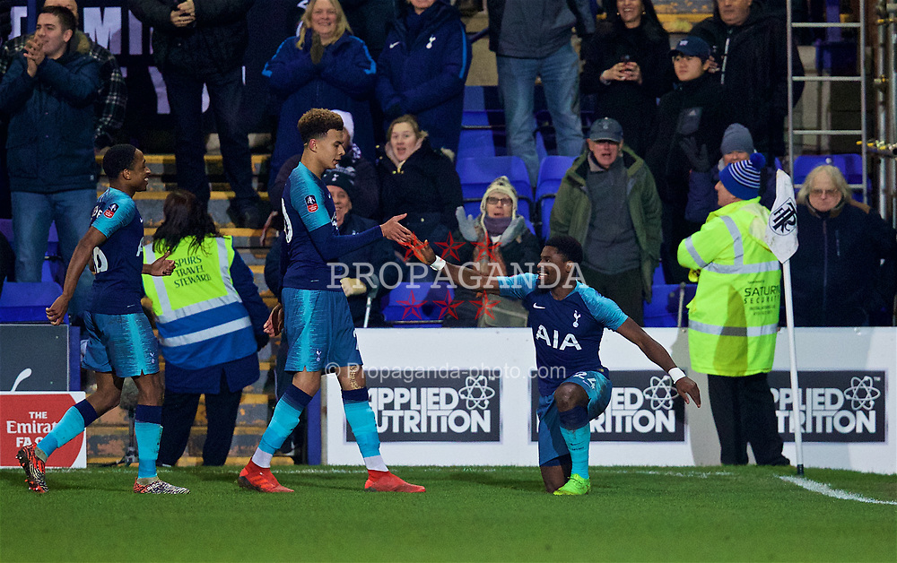 BIRKENHEAD, ENGLAND - Friday, January 4, 2019: Tottenham Hotspur's Serge Aurier (R) celebrates scoring the third goal with team-mate Dele Alli during the FA Cup 3rd Round match between Tranmere Rovers FC and Tottenham Hotspur FC at Prenton Park. (Pic by David Rawcliffe/Propaganda)