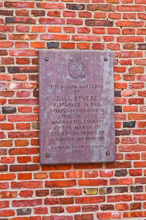 Plaque on the Old North Church describing Paul Revere's ride, Freedom Trail, Boston, Massachusetts