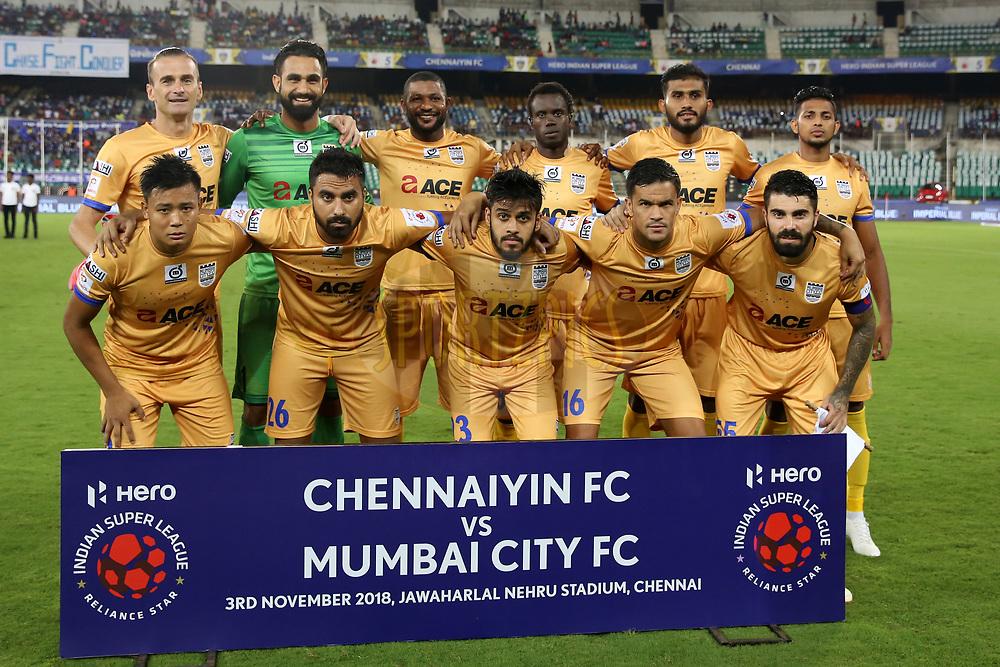 Mumbai City FC team photo during match 27 of the Hero Indian Super League 2018 ( ISL ) between Chennaiyin FC  and Mumbai City FC  held at the Jawaharlal Nehru Stadium, Chennai, India on the 3rd November 2018<br /> <br /> Photo by: Faheem Hussain /SPORTZPICS for ISL