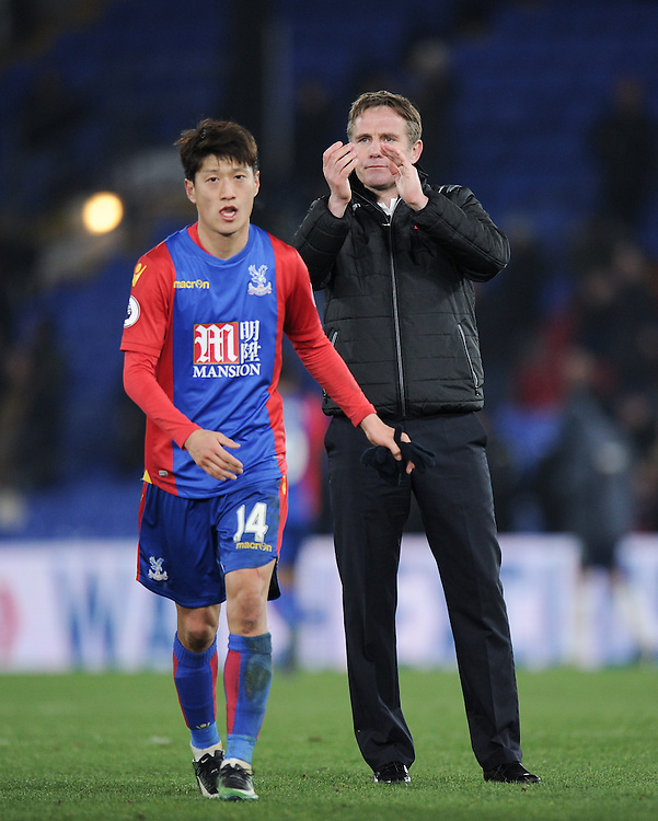 Bolton Wanderers manager Phil Parkinson salutes the fans at the final whistle<br /> <br /> Photographer Ashley Western/CameraSport<br /> <br /> Emirates FA Cup Third Round Replay - Crystal Palace v Bolton Wanderers - Tuesday 17th January 2017 - Selhurst Park - London<br />  <br /> World Copyright © 2017 CameraSport. All rights reserved. 43 Linden Ave. Countesthorpe. Leicester. England. LE8 5PG - Tel: +44 (0) 116 277 4147 - admin@camerasport.com - www.camerasport.com