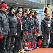 Turkey U21's coach Tolunay Kafkas (L) during their friendly soccer match Turkey U21 betwen Denmark U21 at Recep Tayyip Erdogan stadium in Istanbul February 29, 2012. Photo by TURKPIX