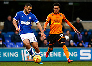 Ipswich Town defender Carter-Vickers Wolverhampton Wanderers striker Helder Costa (17) battles for possession during the EFL Sky Bet Championship match between Ipswich Town and Wolverhampton Wanderers at Portman Road, Ipswich, England on 27 January 2018. Photo by Phil Chaplin.