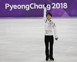 February 17, 2018 - Pyeongchang, KOREA - Yuzuru Hanyu of Japan after competing in the men's figure skating free skate program during the Pyeongchang 2018 Olympic Winter Games at Gangneung Ice Arena. (Credit Image: © David McIntyre via ZUMA Wire)