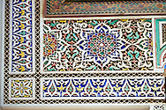 Berber Arabesque painted mocarabe plasterwork  of the Marrakesh museum in the Dar Menebhi Palace, Marrakesh, Morocco .<br /> <br /> Visit our MOROCCO HISTORIC PLAXES PHOTO COLLECTIONS for more   photos  to download or buy as prints https://funkystock.photoshelter.com/gallery-collection/Morocco-Pictures-Photos-and-Images/C0000ds6t1_cvhPo<br /> .<br /> <br /> Visit our ISLAMIC HISTORICAL PLACES PHOTO COLLECTIONS for more photos to download or buy as wall art prints https://funkystock.photoshelter.com/gallery-collection/Islam-Islamic-Historic-Places-Architecture-Pictures-Images-of/C0000n7SGOHt9XWI
