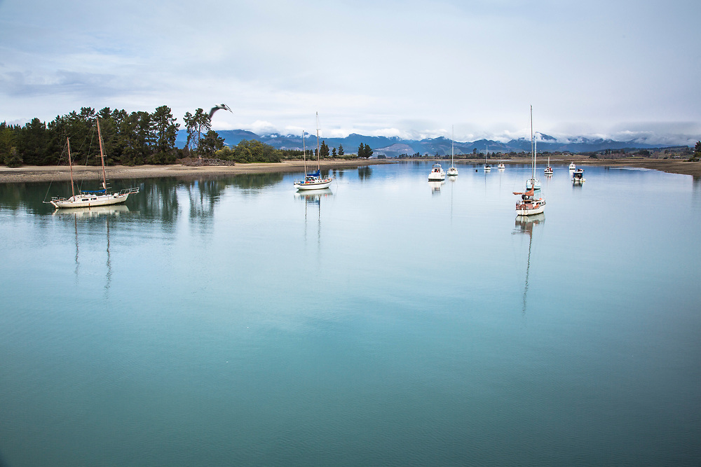Sail boats on Mapua Inlet , Nelson, South Island.
