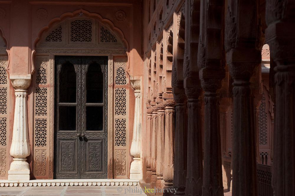 Interior architecture of a courtyard in Junagarh Fort, Bikaner, Rajasthan, India