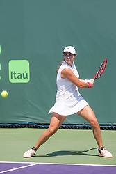 March 20, 2018 - Key Biscayne, FL, U.S. - Key Biscayne, FL - MARCH 20: Stefanie Voegele (SUI) competes during the qualifying round of the 2018 Miami Open on March 20, 2018, at Tennis Center at Crandon Park in Key Biscayne, FL. (Photo by Aaron Gilbert/Icon Sportswire) (Credit Image: © Aaron Gilbert/Icon SMI via ZUMA Press)