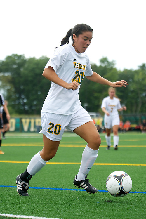 Vermont midfielder Midori Eckenstein (20) in action during the women's soccer game between the Brown Bears and the Vermont Catamounts at Virtue Field on Saturday afternoon September 8, 2012 in Burlington, Vermont.