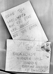 Envelope and letter shown to the jury in the Graham Backhouse murder trial at Bristol Crown Court.