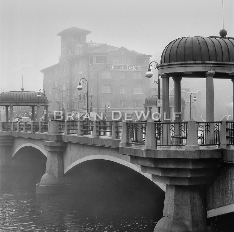 The Hotel Baker stands as a proud sentry over the downtown and main thorofare across the Fox River in St. Charles, IL