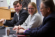 "Laura Dresser, center, laughs during the panel discussion ""How Can Wisconsin Businesses get the Workers They Need?"" During the Cap Times Idea Fest 2018 at the Pyle Center in Madison, Wisconsin, Saturday, Sept. 29, 2018."