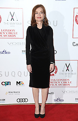 Isabelle Huppert arriving at the London Film Critics Circle Awards 2017, the May Fair Hotel, London.