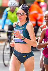 NYC Marathon, two-time winner in New York, Jelena Prokopcuka, 38, Latvia, leads the pack at mile 18