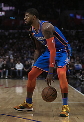 March 8, 2019 - Los Angeles, California, United States of America - Paul George #13 of the Oklahoma Thunder  with the ball during their NBA game with the Los Angeles Clippers on Friday March 8, 2019 at the Staples Center in Los Angeles, California. Clippers defeat Thunder, 118-110.  JAVIER ROJAS/PI (Credit Image: © Prensa Internacional via ZUMA Wire)