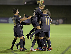 February 20, 2019 - Sheffield, United Kingdom - Manchester United celebrate scoring their first goal in the opening minutes of the  FA Women's Championship football match between Sheffield United Women and Manchester United Women at the Olympic Legacy Stadium, on February 20th Sheffield, England. (Credit Image: © Action Foto Sport/NurPhoto via ZUMA Press)