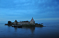 The former fortress of Schlusselburg in Russia, positioned at the head of the Neva River to defend St. Petersburg from invaders coming from Lake Ladoga, Europe's biggest body of water, at 7,000 square miles.